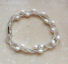 Perlen-Perlen Armbänder naturweiss Süßwasser Perle von jewelryTang