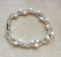 pearl bracelets off white Freshwater Pearl Bracelet by jewelryTang