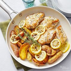 We'll never pass up a meal of chicken and potatoes—especially one that's ready in 30 minutes and clocks in at just 255 calories. Sprinkle on a little extra thyme before serving to keep your family members coming back for seconds.