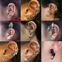 #Fashion cool rock punk #gothic #snake dragon ear cuff stud unisex vintage earrin,  View more on the LINK: http://www.zeppy.io/product/gb/2/281611580659/
