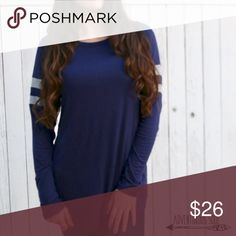 "Navy & Grey Striped Sleeve Top LONG SLEEVE NAVY TOP WITH GREY STRIPES ON SLEEVES. FITS TRUE TO SIZE. (I'M 5'4"", 108 LBS : MODELING A SMALL) 95% RAYON 5% SPANDEX •NO TRADES/OFFERS at this time please Tops Tees - Long Sleeve"