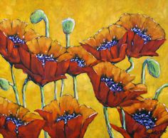 "Add spring and summer cheer with blooming accessories like ""Poppies Craze"" by  the Canadian artist Richard T. Pranke. #decor #art"