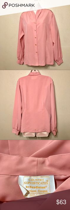 👑 Vintage Country Sophisticates Blouse 👑 Vintage Country Sophisticates Blouse   Classy Vintage   Pink  Pleated in the front and back  Med. - Large  This is a very unique blouse and it's in amazing condition. I've only hand washed and hung dried this garment. There is not a sizing tag but it's a Medium and could fit as a size large.   # 434 Country Sophisticates Tops Blouses
