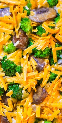 Cheesy Broccoli and Mushroom Casserole with Rice - easy dinner!
