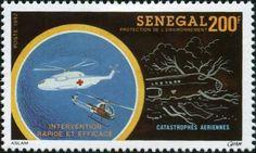Sello: Rescue Helicopter and Plane Crash (Senegal) (Accident Prevention Campaign) Mi:SN 1258,Yt:SN 1036