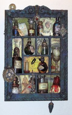 Witch's apothecary shadowbox by Arley Berryhill.