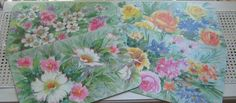 "Vintage Floral Placemats by G. Galian ""Just Wipe Off & Reuse"" Set of 7 in Original Box, Cottage Watercolor Flowers Garden by vintagenowandthen on Etsy"