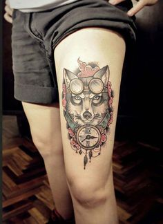 steampunk wolf tattoo