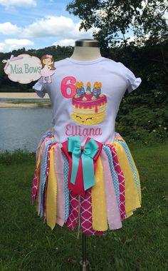 Shopkins, Cake, Make a Wish, Appliquéd, Birthday, Shirt, Fabric Tutu, SET, Bow, Custom, Personalized, Any Size or Number, Girls, Baby