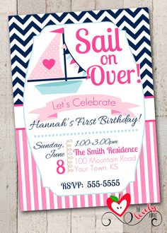 Nautical Birthday Girl Invitation, Printable Nautical Birthday Invite, Pink Nautical Invitation on Etsy, $15.00