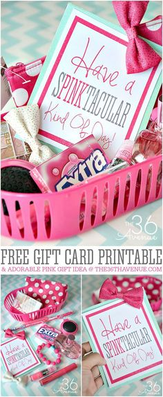 DIY Handmade PINK Gift Idea and Free Printable at diybirthdaygiftideasforbestfriend Themed Gift Baskets, Diy Gift Baskets, Basket Gift, Secret Sister Gifts, Cheer Sister Gifts, Diy Spring, Holiday Gifts, Christmas Gifts, Diy Cadeau