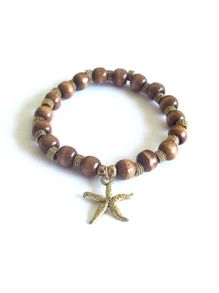 Bijouterie Starfish Charm bracelet in Tan Wood