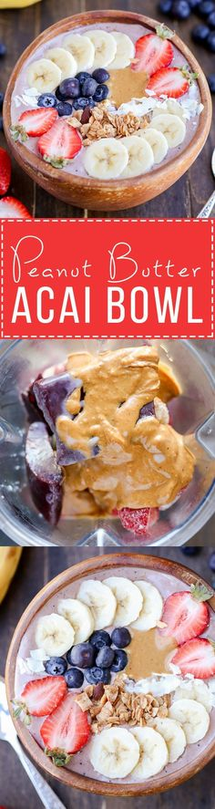 Peanut Butter Acai Bowl This Peanut Butter Acai Bowl is the perfect creamy healthy and peanut buttery breakfast! The recipe makes one thick smoothie bowl best topped with fresh fruit granola and peanut butter. Source by whiskaffair Fruit Smoothies, Healthy Smoothies, Smoothie Recipes, Fruit Drinks, Vegetarian Smoothies, Cleansing Smoothies, Fruit Detox, Shake Recipes, Fruit Juice