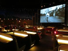 Sci Fi Drive In-Dine In Restaurant @ Walt Disney World. Looping old SCI-FI movie reels and trailers from the 50s and 60s while you choke down your milkshake!