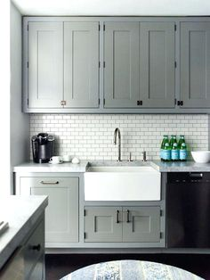 white subway tile with dark grout in kitchen