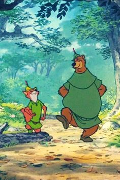 Robin Hood and Little John, walking through the forest.