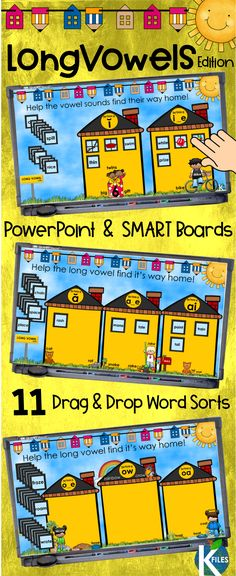 Long Vowels Picture and Word Sorts PowerPoint Game Listen To Reading, Guided Reading, Teaching Reading, Learning, Spelling Word Games, Just Right Books, Read To Self, Back To School Activities, School Ideas