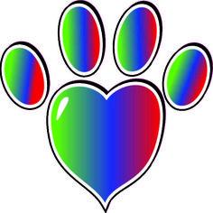 Rainbow Heart Paw Print Bumper Sticker