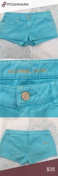 """Michael Kors Bright Blue Low Rise Shorts Worn a handful of times, gently. In great condition! Beautiful shorts, there is a small mark on the back of the shorts but i'm sure with proper products, It can be removed. Barely noticeable when on since they are """"distressed"""" shorts MICHAEL Michael Kors Shorts Jean Shorts"""