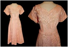 Vintage 50's PINK Illusion Floral LACE Ribbon Party Dress // 1950's Sequins // Bombshell Formal Cocktail Dress Size Large by TheVintageVaultShop on Etsy