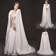 Long Ivory Bridal Winter Wedding/Party Hooded Cloak Cape Faux Fur Shawl Wrap