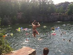 Quarry Park and Nature Preserve in Waite Park, MN. If you want to cliff jump this is one of the last places left where you can do it :)