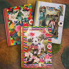 Three special order decoupaged journals custom made to the customer's specifications. All crafted by More Than Fine Framing's own Terri Yellalonis.