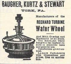 1893 Rechard Turbine Water Wheel Ad Baugher Kurtz Stewart York PA Pennsylvania | eBay