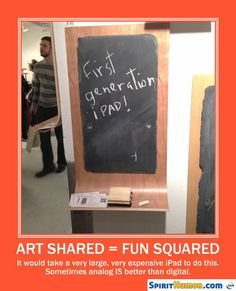 The version with SIRI has a woman standing next to it with chalk in her hand.