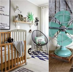 Inspo Paint fan blades mint Paint wooden letters darker grey Slim frame shelf to stack a frame letters and ornament Hang round mirror Hang framed cages Find industrial light and spray shade same mint Houndstooth grey fabric or wishbone for chair and door curtain