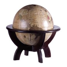 The world is always at your fingertips with this desk globe on wooden stand. This handsome antiqued sphere will maintain your geography know-how while keeping you in check with global events.