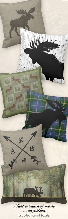 A bunch of moose...on pillows, in a variety of styles | outdoorsy decor for the lodge or cabin in the woods or the cozy family room decked in all things nature | shop the collection at Zazzle