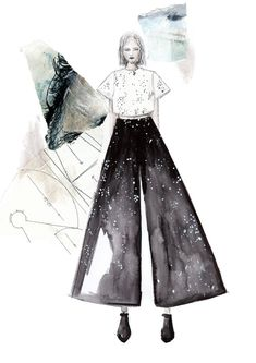 Fashion Sketchbook - fashion illustration; fashion design creative process; fashion portfolio // Hermine on Walk