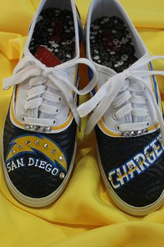 San Diego Chargers Hand Painted Canvas Shoes by TouchOfJoyDesigns