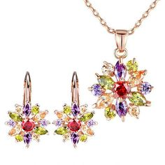 Luxury Gold Plated Flower Jewelry Sets For Women Wedding with AAA Cubic Zircon High Quality Bright