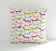 pink light blue light purple pillows | ... Pillow Cover Pink Green Dogs Dachshund Pillow 18x18 Decorative Pillow