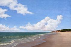 Cristina Strapação, Título: Entre Céu, Mar e Areia, Óleo sobre tela, 100 x 170 cm.