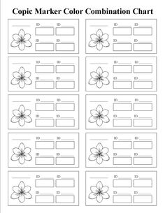 Copic Marker Color Combinations - Printable Chart Template with Flower Shape