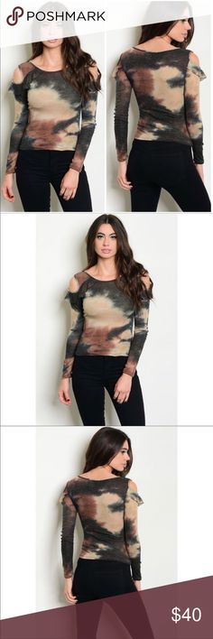 🆕 Coming 🔜 Harper Tie Dye Cold Shoulder The cold shoulder style shows off your feminine charm with Long Ruffled sleeves in this fabulous brown and tan tie dye top. Please like to be notified of arrival. Material is 95% Polyester and 5% Spandex. Price will be $34 Dejanewforyou Tops