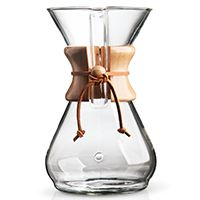 Eight Cup Chemex Coffee Maker—The Chemex pour-over coffee maker is the ultimate accessory for the coffee connoisseurs and the uber hip coffee drinkers.