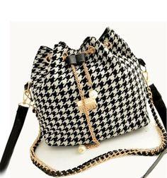 Promotion Hot Women Chains Fashion Bucket Bag Canvas Patchwork Houndstooth Brand Messenger Bag Bolsas BS391