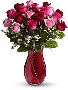 Romantic flowers - 18 red roses and sweet lavender waxflower - are gathered into a modern red cube vase. Beautiful Rose Flowers, Rare Flowers, Exotic Flowers, Beautiful Bouquets, Send Flowers, Valentine Day Love, Valentine Gifts, Rose Flower Wallpaper, Red Rose Bouquet