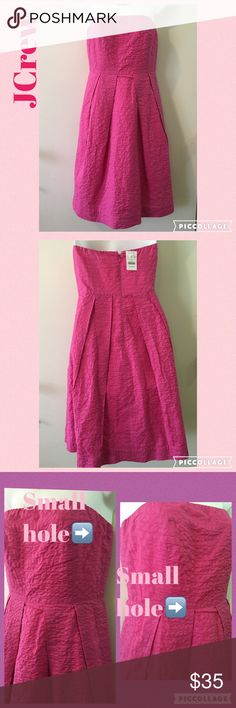 JCrew Pink Dress NWT, beautiful strapless dress. Zipper on back. Fully lined. Has 2 small hole, posted on pics. Please Lmk if you need measurements. Priced accordingly. Thanks ❌No Trades❌ J. Crew Dresses Strapless