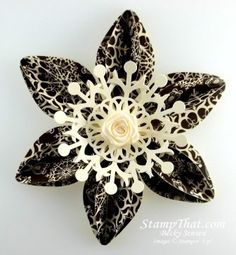 Stampin' Up! Christmas Tree Ornament Love the black/white and the flower in the middle