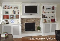fireplace recessed with built ins