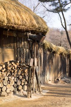 Korean Folk Village, Wood by Thanh Dromard on Asian Steampunk, Traditional House, Korean Traditional, Countryside Village, Village Photography, Asian Architecture, Korean Art, Sky Aesthetic, Landscape Photographers