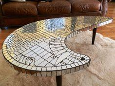 Mosaic Coffee Table, Coffee Table To Dining Table, Mosaic Tables, Mirror Mosaic, Mosaic Art, Mosaic Glass, Mosaic Furniture, Concrete Bricks, Brick Tiles