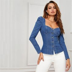 Women's Denim Slim Shirt With Buttons | ZORKET | Material: Polyester, COTTON • Style: Puff Sleeve, Sexy & Club • Decoration: Button • Collar: Square Collar • Material: Spandex • Type: Solid, Broadcloth