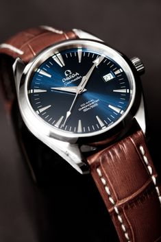 To know more about OMEGA Aqua Terra in Blue, visit Sumally, a social network that gathers together all the wanted things in the world! Featuring over other OMEGA items too! Omega Aqua Terra, Stylish Watches, Luxury Watches, Cool Watches, Watches For Men, Men's Watches, Timex Watches, Mens Watches Leather, Casual Watches