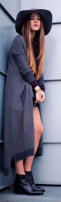 Black And Grey Striped Knit Long Line Cardi by Negin Mirsalehi